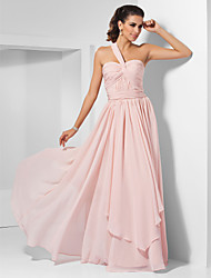 cheap -Ball Gown One Shoulder / Sweetheart Neckline Floor Length Chiffon Elegant Prom / Formal Evening / Military Ball Dress 2020 with Draping / Criss Cross / Ruched