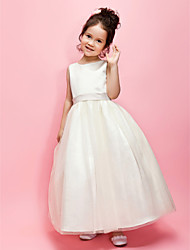cheap -Ball Gown / A-Line Ankle Length Wedding / First Communion Flower Girl Dresses - Satin / Tulle Sleeveless Jewel Neck with Sash / Ribbon / Bow(s) / Spring / Summer / Fall / Winter