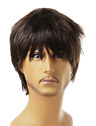 Недорогие -монолитным синтетической природы взгляд коричневые вьющиеся волосы парика