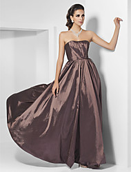 cheap -A-Line Open Back Formal Evening Military Ball Dress Strapless Floor Length Taffeta with Draping Side Draping 2021