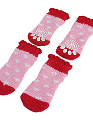 cheap -Dog Socks Casual / Daily Keep Warm Color Block Pink For Pets / Winter