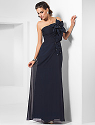 cheap -Sheath / Column Elegant Formal Evening Military Ball Dress One Shoulder Sleeveless Floor Length Chiffon with Beading Crystal Brooch Flower 2020