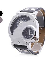 Недорогие -Мужские аналоговые кварцевые наручные часы с ремешком из кожзама (2 часовых пояса, разные цвета)