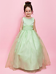 cheap -Ball Gown / A-Line Floor Length Wedding Party Organza / Satin Sleeveless Jewel Neck with Sash / Ribbon / Beading