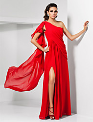 cheap -Sheath / Column One Shoulder Floor Length Chiffon Empire / Red Wedding Guest / Formal Evening Dress with Draping / Split 2020