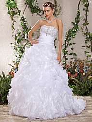 cheap -Ball Gown Wedding Dresses Strapless Court Train Organza Sleeveless with 2021