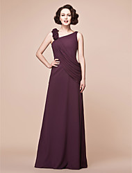 cheap -A-Line Mother of the Bride Dress Floral Straps Floor Length Chiffon Sleeveless with Ruffles Side Draping 2021