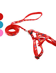 cheap -Dog Harness Leash Slip Lead Footprint / Paw Textile Red Blue Pink