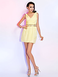 cheap -Sheath / Column Homecoming Cocktail Party Wedding Party Dress Straps V Neck Short / Mini Chiffon with Beading Side Draping 2021