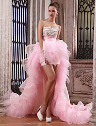 cheap -Ball Gown High Low Vintage Inspired Formal Evening Dress Strapless Sweetheart Neckline Sleeveless Asymmetrical Organza Taffeta with Pick Up Skirt Ruched Crystals 2020