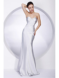 cheap -Mermaid / Trumpet Sweetheart Neckline / Strapless Floor Length Stretch Satin Celebrity Style / Inspired by TV Stars / Open Back Formal Evening / Military Ball Dress with Ruched / Beading 2020
