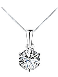 cheap -Women's Diamond Cubic Zirconia Solitaire Simulated Pendant Necklace Zircon Cubic Zirconia Fashion Silver Necklace Jewelry For Daily