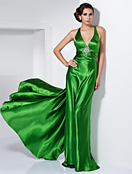 cheap -Sheath / Column Open Back Formal Evening Military Ball Dress Straps V Neck Sleeveless Floor Length Stretch Satin with Crystal Brooch 2020
