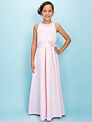 cheap -A-Line Floor Length Junior Bridesmaid Dress Wedding Party Satin Sleeveless Jewel Neck with Sash / Ribbon / Fall / Winter / Spring / Apple / Hourglass