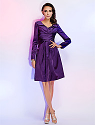cheap -Ball Gown Homecoming Cocktail Party Wedding Party Dress V Neck Long Sleeve Knee Length Stretch Satin with Criss Cross 2020
