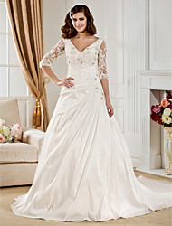 cheap -Ball Gown Wedding Dresses V Neck Chapel Train Taffeta Half Sleeve See-Through with Ruched Beading Appliques 2020 / Illusion Sleeve