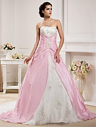cheap -Ball Gown Wedding Dresses Strapless Chapel Train Organza Taffeta Strapless Wedding Dress in Color with Ruched Beading Appliques 2020