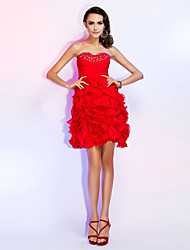 cheap -A-Line Princess Strapless Sweetheart Short / Mini Chiffon Cocktail Party Homecoming Wedding Party Dress with Beading Ruched Criss Cross