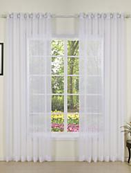 cheap -Semi Sheer Window Curtain Window Treatments White 2 Panels Grommet For Living Room Bedroom