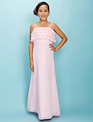 cheap -A-Line / Sheath / Column Spaghetti Strap Floor Length Chiffon Junior Bridesmaid Dress with Pleats / Ruffles / Spring / Fall / Winter / Apple / Hourglass