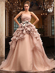 cheap -Ball Gown Wedding Dresses Strapless Chapel Train Tulle Sleeveless Wedding Dress in Color with 2020