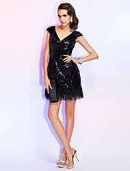 cheap -Sheath / Column V Neck Short / Mini Sequined Little Black Dress / Beaded & Sequin Cocktail Party / Homecoming / Wedding Party Dress 2020 with Sequin / Feathers / Fur