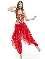 cheap -Belly Dance Outfits Women's Performance Chiffon Beading / Coin Sleeveless Natural