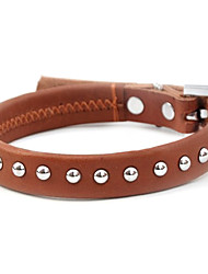 cheap -Adjustable Metal Spot Genuine Leather Dog Collar (45-55cm/17.7-21.6inch)