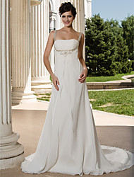 cheap -A-line Straps Court Train Chiffon Wedding Dress