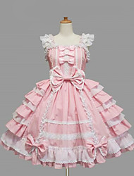 cheap -Princess Women's Sweet Lolita Dress Black Pink Medium Length Cotton Dress Lolita Accessories