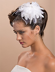 cheap -Cut Edge Tulle Blusher Veils / Hats / Birdcage Veils with Feather 1pc Engagement Party Headpiece