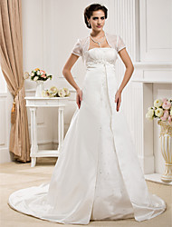 cheap -Princess A-Line Wedding Dresses Strapless Court Train Organza Satin Sleeveless with 2020 / Yes