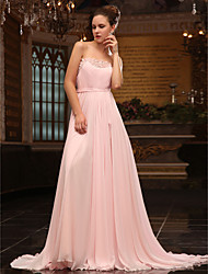 cheap -Ball Gown Elegant Formal Evening Military Ball Dress Strapless Sleeveless Sweep / Brush Train Chiffon Satin Chiffon with Sash / Ribbon Beading Sequin 2020