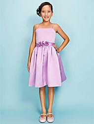 cheap -Ball Gown / Princess Spaghetti Strap Knee Length Satin Junior Bridesmaid Dress with Draping / Sash / Ribbon / Flower