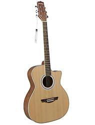 "cheap -Hawks 40"" Beginner Cutaway Spruce Plywood Top Satin Acoustic guitar"
