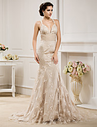 cheap -Mermaid / Trumpet Sweetheart Neckline Sweep / Brush Train Chiffon / Lace Made-To-Measure Wedding Dresses with Bowknot / Sash / Ribbon by LAN TING BRIDE® / Wedding Dress in Color