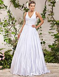 cheap -Princess A-Line Wedding Dresses V Neck Floor Length Sleeveless with 2020