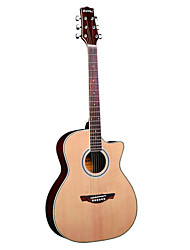 "cheap -Hawks 40"" Beginner Cutaway Spruce Plywood Top Acoustic guitar"