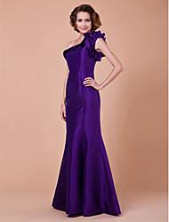 cheap -Mermaid / Trumpet Mother of the Bride Dress One Shoulder Floor Length Taffeta Sleeveless with Cascading Ruffles 2021