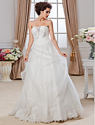 cheap -Ball Gown Strapless Cathedral Train Organza Ruffles Wedding Dress With Bow