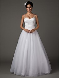 cheap -A-Line Wedding Dresses Sweetheart Neckline Spaghetti Strap Floor Length Taffeta Tulle Sleeveless with 2020