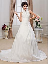 cheap -Princess A-Line Wedding Dresses Halter Neck Chapel Train Taffeta Sleeveless with Beading Criss-Cross Ruffle 2021