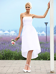 cheap -A-Line Wedding Dresses Strapless Asymmetrical Taffeta Strapless Little White Dress with 2020