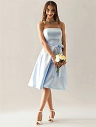 cheap -A-Line Strapless Knee Length Satin Bridesmaid Dress with Sash / Ribbon / Bow(s)