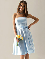 cheap -Ball Gown Strapless Knee Length Satin Wedding Party Dress 2020 with Bow(s) / Sash / Ribbon