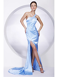 cheap -Mermaid / Trumpet All Celebrity Styles Inspired by Cannes Film Festival Formal Evening Military Ball Dress One Shoulder Sleeveless Sweep / Brush Train Charmeuse with Beading Split Front 2020