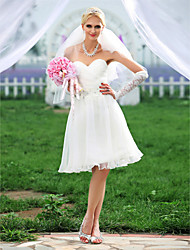 cheap -A-line Sweetheart Knee-length Organza Wedding Dress