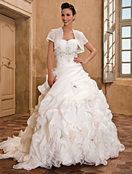 cheap -Ball Gown A-Line Wedding Dresses Strapless Sweetheart Neckline Chapel Train Organza Sleeveless with 2020 / Yes
