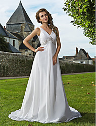 cheap -Sheath / Column Wedding Dresses V Neck Sweep / Brush Train Chiffon Sleeveless with 2021