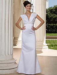 cheap -Mermaid / Trumpet Wedding Dresses V Neck Floor Length Satin Sleeveless with 2020